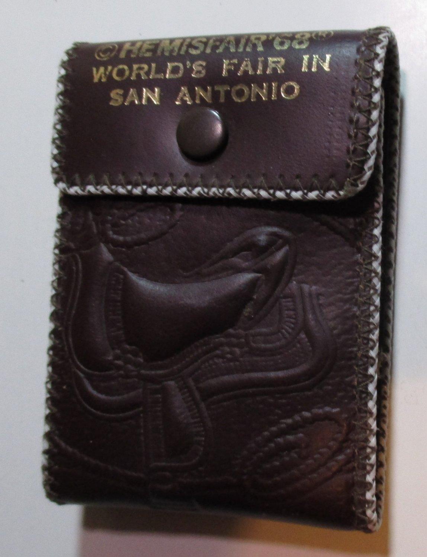 Hemisfair 68 1968 San Antonio Worlds Fair Leather Billfold