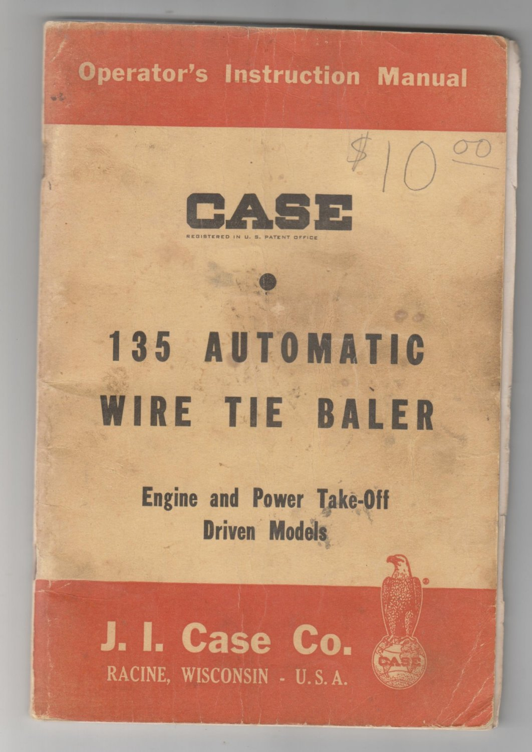 CASE -instruction manual Case 135 automatic WIRE tie baler