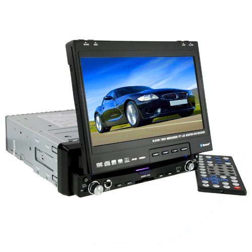 Large 7 Inch Touchscreen Bluetooth GPS Car DVD Player (1-DIN)