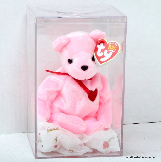 "Ty Beanie Baby Smooch-e the Valentine Bear 8"" Hot Pink 2004 in Case Internet Exclusive"