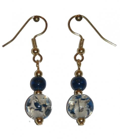 Patterned Clear/Blue Speckled Glass with Blue/Clear Glass Top Bead Gold Earrings