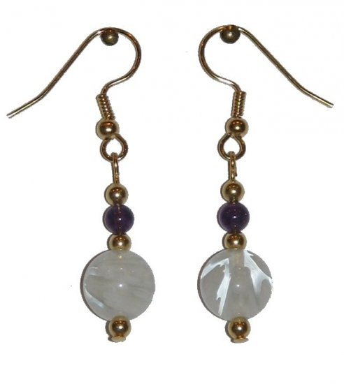 Patterned Clear/White Glass with Violet Glass Top Bead Gold Earrings