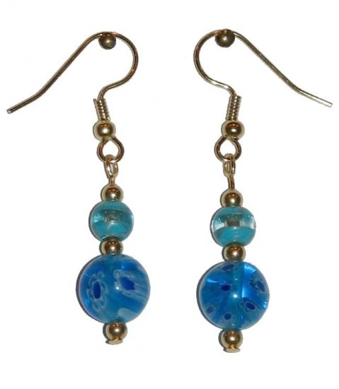 Patterned Blue/White Glass with Lt. Blue/Clear Glass Top Bead Gold Earrings