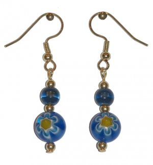 Patterned Blue/Yellow/White Flower Glass with Blue/Clear Glass Top Bead Gold Earrings