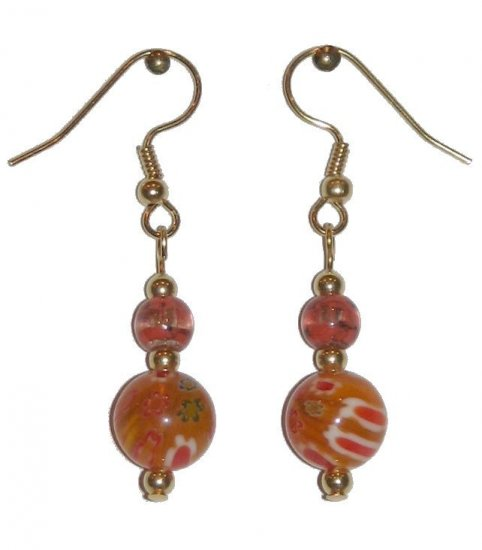 Patterned Orange Glass with Orange/Clear Glass Top Bead Gold Earrings