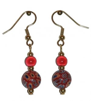 Patterned Red Glass with Red Miracle Top Bead Gold Earrings
