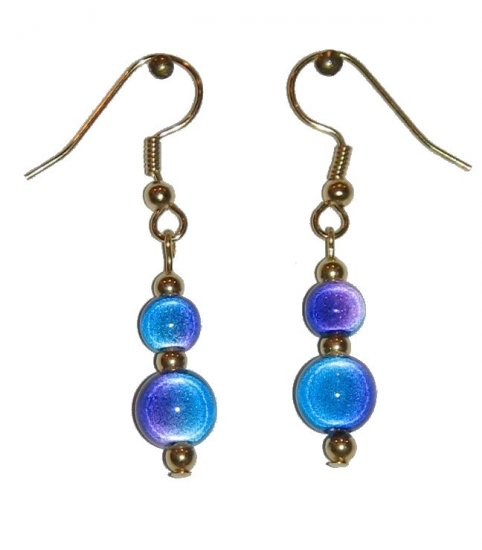 "Blue/Violet ""Miracle Bead"" Double Beaded Earrings"