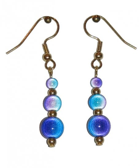 "Blue/Violet ""Miracle Bead"" Triple Beaded Earrings"