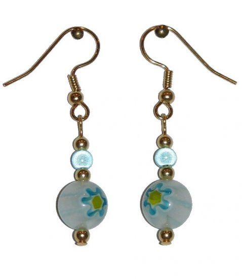 Patterned White w/Blue & Yellow Glass with Blue Miracle Top Bead Gold Earrings