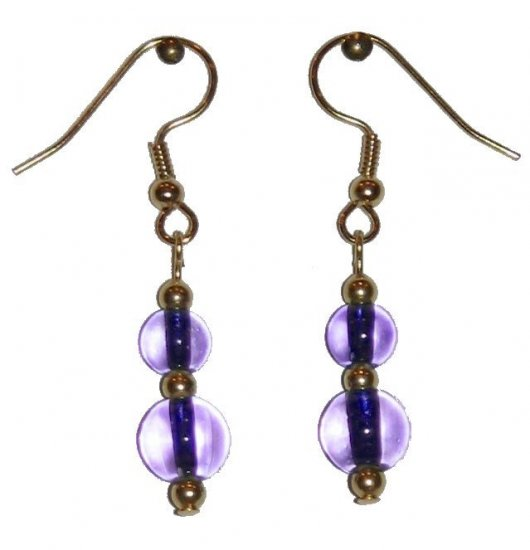 Clear Lavender Glass with Clear Lavender Glass Top Bead Gold Earrings