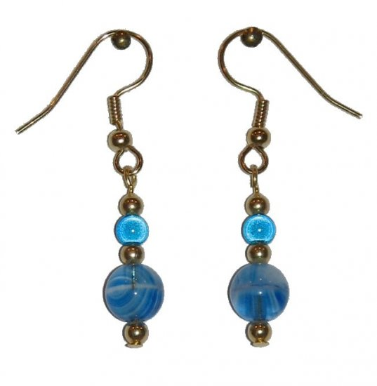 Patterned Blue & White Glass with Blue Miracle Top Bead Gold Earrings