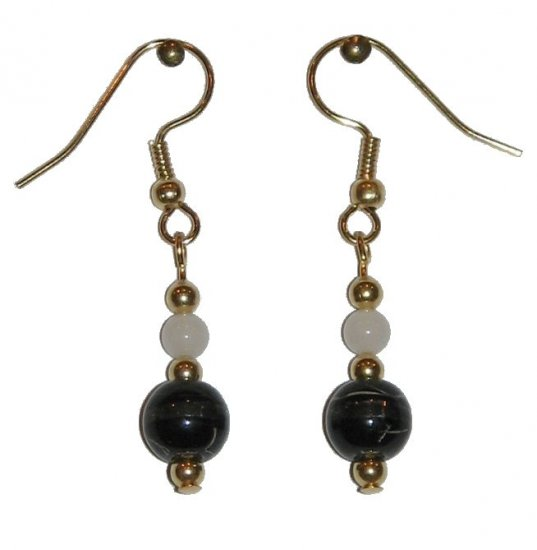 Patterned Black & Clear Glass with White Top Bead Gold Earrings