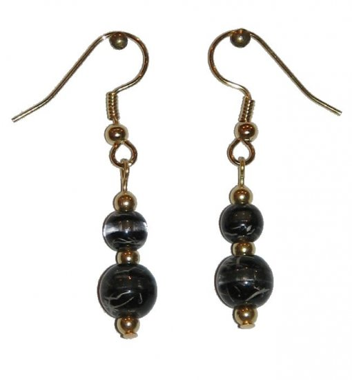 Patterned Black & Clear Glass with Black/Clear Top Bead Gold Earrings