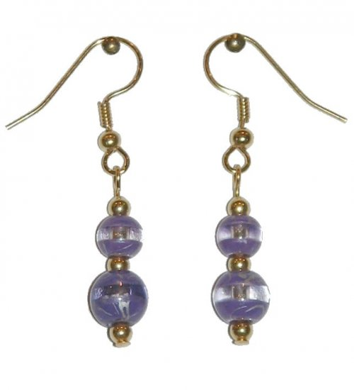 Patterned Lavender & Clear Glass with Lavender/Clear Top Bead Gold Earrings