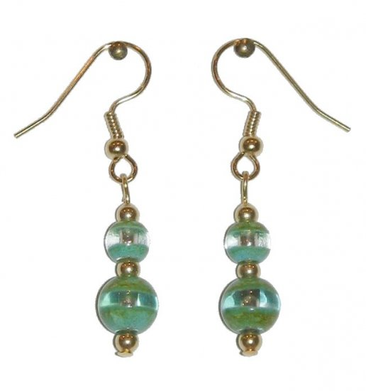 Patterned Green & Clear Glass with Green/Clear Top Bead Gold Earrings