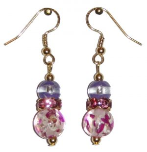 Rose Speckled Clear Glass with Violet/Clear Top Bead Pink Crowned Gold Earrings