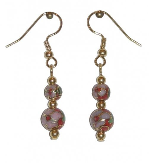 Red Cloisonné with 1 8MM & 1 6MM Beaded Gold Earrings