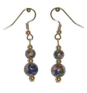 Dark Blue Cloisonné with 1 8MM & 1 6MM Beaded Gold Earrings