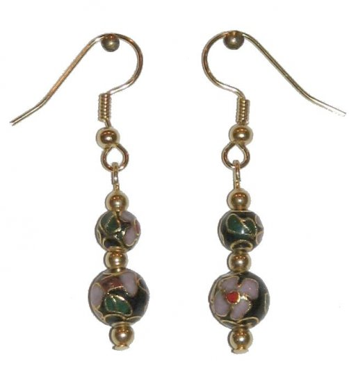 Black Cloisonné with 1 8MM & 1 6MM Beaded Gold Earrings