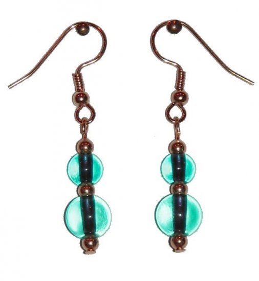 Clear Greenish-Blue Glass with Clear Greenish-Blue Glass Top Bead Gold Earrings