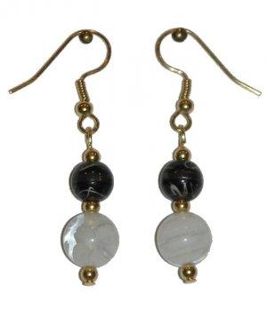 White/Clear Swirled Glass w/med Black/clear Gold Earrings