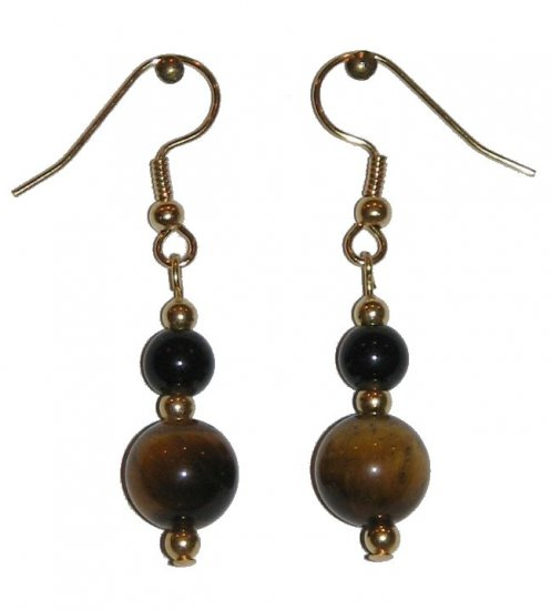 Tiger Eye Patterned Glass w/med Black Glass Gold Earrings