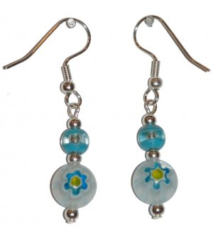Patterned White w/Blue & Yellow Glass with Turquoise/Clear Top Bead Silver Earrings
