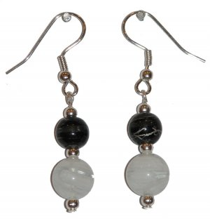 White/Clear Swirled w/med Black/clear Silver Earrings