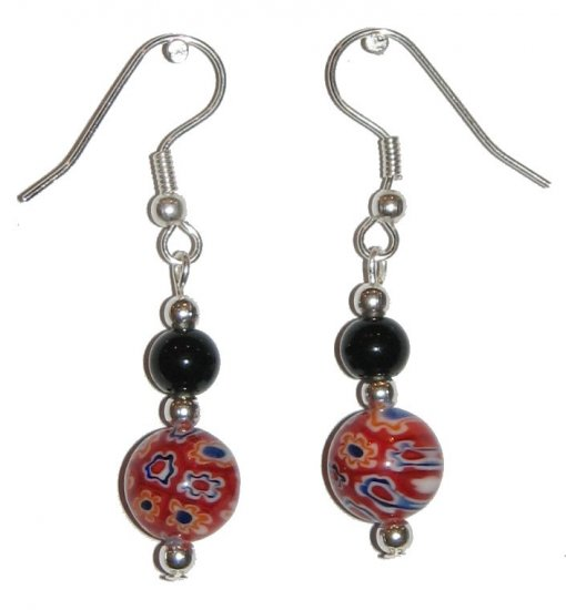 Patterned Red Glass with Multi-colored (Wt, Or, Bl, Bk) with Black Top Bead Silver Earrings