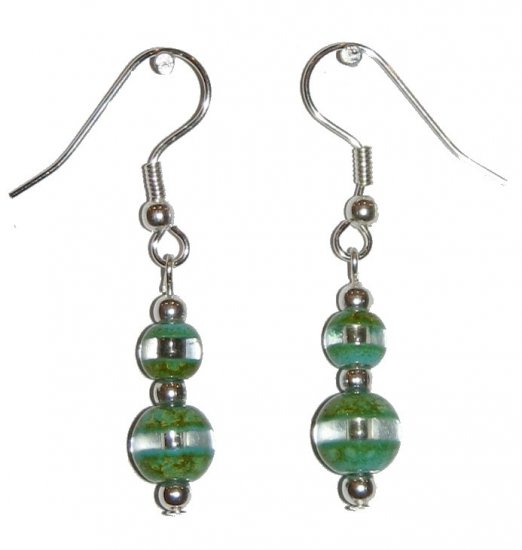 Patterned Green & Clear Glass with Green/Clear Top Bead Silver Earrings
