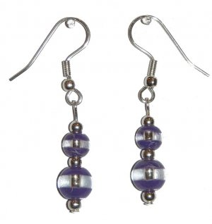 Patterned Violet & Clear Glass with Violet/Clear Top Bead Silver Earrings