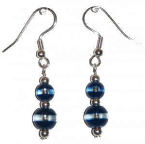 Patterned Dark Blue & Clear Glass with Dark Blue/Clear Top Bead Silver Earrings