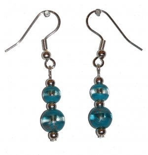 Patterned Turquoise Colored/Clear Glass with Turquoise Colored/Clear Top Bead Silver Earrings