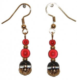 Black & Clear Glass Gold Capped w/ two red miracle beads gold earrings