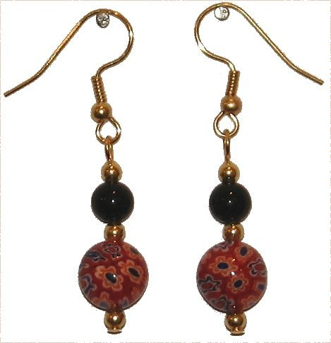 Patterned Red Glass with Multi-colored (Wt, Or, Bl, Bk) with Black Top Bead Gold Earrings
