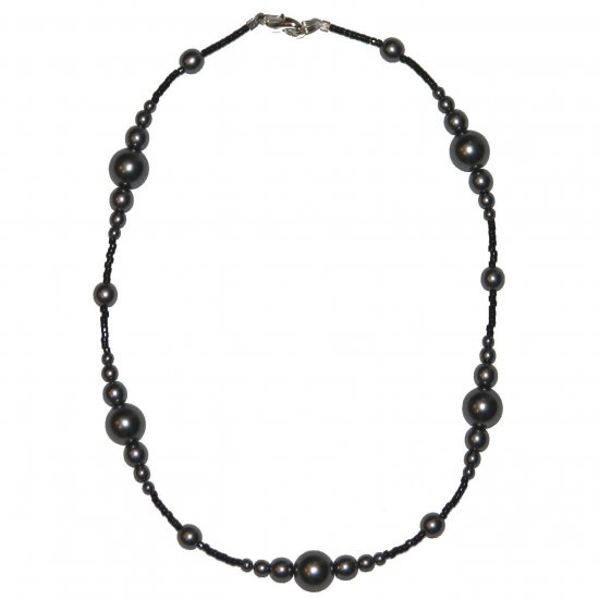 "Dark Grey Pearl Glass Beads with very small black spacer beads 14.75"" Necklace"