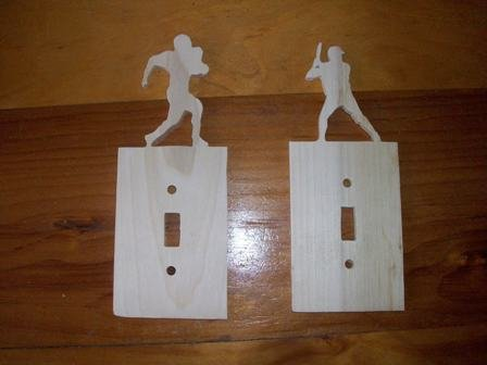 Sports themed wooden switch plate covers