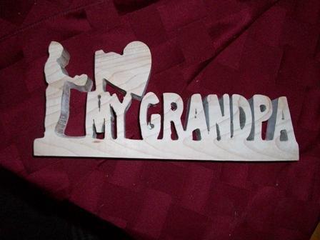 Wooden I love my Grandpa sign display