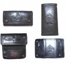 AWESOME HAND TOOLED LEATHER SKULL BIKER ROCKER WALLET