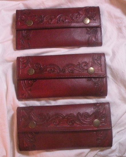 AWESOME BURGUNDY CUSTOM HAND TOOLED LEATHER WALLET!