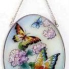 33606 Handpainted Phlox and Butterfly Suncatcher ~FS
