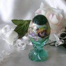 1466  Fenton Fruits on Sea Mist Green Pedestal Egg