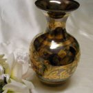 30356 Medium Floral Brass and Pewter Ginger Jar Vase