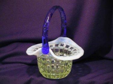 3186 Fenton Vaseline Opal Waffle Block Hat Basket