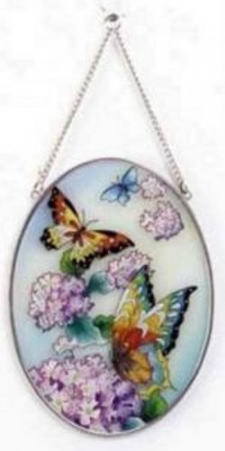 33606 Handpainted Phlox N Butterfly Suncatcher