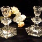 3816 Elegant Lead Glass PedestalTaper Candleholder Set