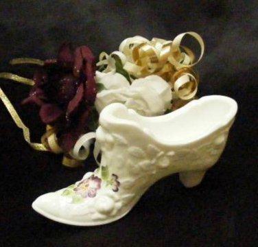3781 Fenton Pansies on Embossed Roses Slipper