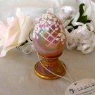 1477 Fenton Pink Rhinestones on Champagne Pedestal Egg