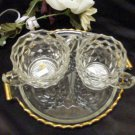 3823Jeannette Crystal Cubist Creamer, Sugar and Tray