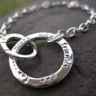 Journal Circle Bracelet . Sterling Silver . Customize with your choice of words